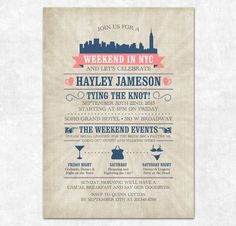 Printable Bachelorette Weekend Invitation - Lingerie Shower, City Skyline, Bachelorette Itinerary