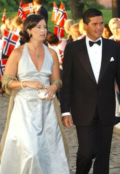 Princess Alexia of Greece and Carlos Morales arrive at Akershus Fortress, Oslo for the pre-wedding banquet, August 24th; wedding of Crown Prince Haakon of Norway and ms. Mette-Marit Tjessem Høiby, August 25th 2001