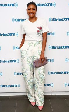 2cd065511e42 Gabrielle Union in a Rosie Assoulin T-shirt and pants Star Fashion
