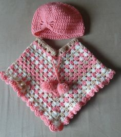 #Baby girl #poncho set with hat #crochet