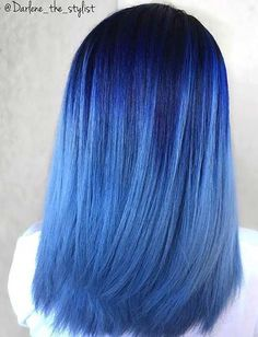 Dark Blue to Pastel Sky Blue Ombre Hair