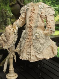 ~~~ Marvelous French Bebe Silk Dress with Bonnet ~~~ from whendreamscometrue on Ruby Lane