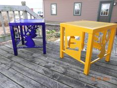 Outdoor side tables for patio - custom design was produced for high school scholarship fundraiser