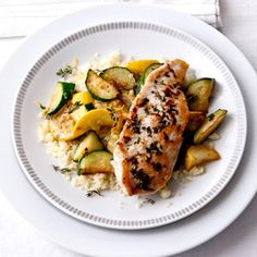 This amazing recipe uses zucchini and yellow squash, plus thyme, which are all abundant in our garden. It was DELICIOUS - plus healthy!  Add sliced tomatoes and, of course, a glass of Chardonnay.  Amazing!