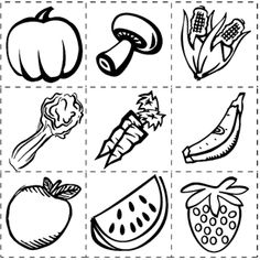Fruits and Vegetables Coloring and Drawing Worksheets