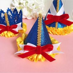 MINI || Snow White - Insired Party Hat || Red Velvet Bow || Elastic Band by MintPinkSugar on Etsy https://www.etsy.com/listing/266622671/mini-snow-white-insired-party-hat-red