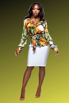 The feminine Secret Paradise Floral Top with belt front closure is the ideal complement to your everyday rotation. Its loose cut and soft fabric provide comfort and versatility, and it can be effortlessly tucked into anything from skirts to jeans. To complete the style, pair it with a white skirt and a brightly colored purse. #topsdesigns #topsforwomen #tops #topsforgirlsstylish #topsdesignsforjeans #topsforwomencasual #topsforgirlscasual #outfit #outfitgoals #cutetops #outfitgoalsclassy