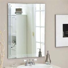 Rectangular 31.5-inch Bathroom Vanity Wall Mirror w/ Contemporary Triple-Bevel Design- Free Shipping