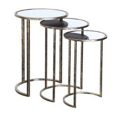 Mesa auxiliar nido oro espejo (set de tres)