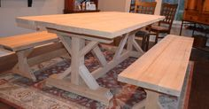 Our Fancy Smancy Farmhouse Table with matching benches | Trestle table, Ana white and Farmhouse table