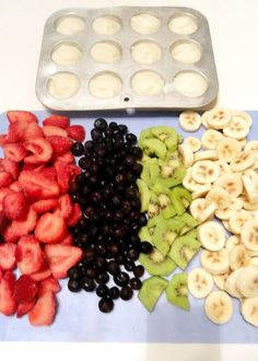 Smoothie packs- freeze: 1T yogurt into mini muffin tins (add 3 to each baggie), and fruit