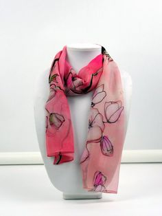 Scarfs For Women Tulip Creative Personality Custom Scarf Romantic Spring Garden Botany 10 x 12 Inch