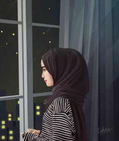 Hijabi Girl, Girl Hijab, Illustration Girl, Portrait Illustration, Hijab Style Tutorial, Arab Girls Hijab, Islamic Cartoon, Hijab Cartoon, Islamic Girl