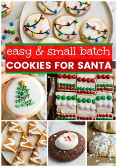 Cookies for Santa. Easy cookies for Santa, recipes that only make a few cookies! Most recipes make only 1 dozen cookies, perfect for Christmas Eve baking! #cookiesforsanta #smallbatch #cookingfortwo #cookies #easycookies #cookierecipes Chewy Chocolate Cookies, Cocoa Cookies, Sugar Cookie Bars, Santa Cookies, Christmas Sugar Cookies, Spice Cookies, Christmas Baking, Christmas Eve, Christmas Recipes