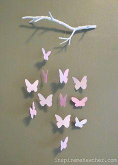 Bastelideen aus Papier - Blumen, Girlanden und Türkränze Butterfly Mobile (with tutorial!)Butterfly Mobile (with tutorial! Kids Crafts, Diy And Crafts, Arts And Crafts, Diy Paper Crafts, Kids Diy, Baby Crafts, Cute Crafts, Papier Diy, Diy Y Manualidades