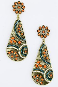 Poppy Folk Art Teardrop Earrings on Emma Stine Limited