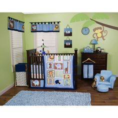 @Overstock.com - Trend Lab Jungle 123 Blue 5-piece Crib Bedding Set - The Jungle 123 5-piece cribbing set from Trend Lab features chevron, dot, stripe, triangle, and onion prints that add trend-right detailing to your little ones room. This 5-piece set fits standard crib mattresses.  http://www.overstock.com/Baby/Trend-Lab-Jungle-123-Blue-5-piece-Crib-Bedding-Set/7604860/product.html?CID=214117 $83.99