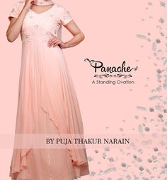 Blushing #Georgette When georgette shimmers it blushes into powder pink semi formal creation. A layered outfit comes alive by exquisite hand embellishments.  #panache #beautiful #semiformal #dresses👗 #womensfashion