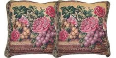 DaDa Bedding CC14426 Parade of Fruit and Rose Woven Cushion Cover 18 by 18Inch Set of 2 >>> Check this awesome product by going to the link at the image.