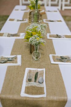 Love these burlap flatware pockets!! Photo by http://www.jessicacharlesphotography.com, Planning by http://burkleevents.com, Flowers & Decor by http://fhweddings.com/, via http://theeverylastdetail.com/rustic-chic-yellow-and-gray-wedding/