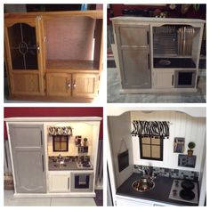 Play kitchen from entertainment center. DIY play kitchen. My daughter is going to love this!