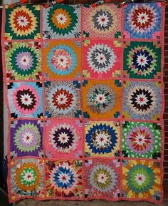 Outstanding Vintage Prairie Point Target Antique Quilt Red Stars Best of Kind | eBay