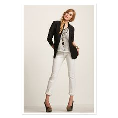 A savvy silhouette is all about proportions! Rock the #CAbi Spring '13 Scarf Top, Chic Jacket and Stella Jeans!