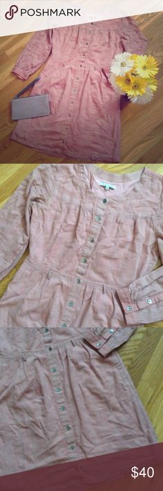 MADEWELL Dusty Pink Mauve Button Down Shirt Dress MADEWELL - Broadway & Broome - dusty mauve pink button down shirt dress size 2. Has pockets. Excellent condition. Has belt loops but no belt included. Fully lined. Bust is 35 inches, waist is 30 inches, sleeve is 21 inches and total length is 32.5 inches. 100% cotton. Madewell Dresses