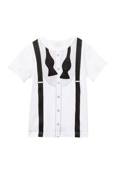 Frenchie Mini Couture White Un-Tied Tuxedo Tee (Toddler
