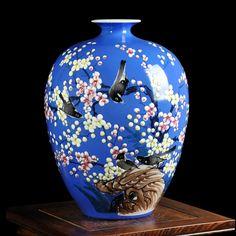 Modern Jingdezhen ceramics enamel porcelain vase hand-painted flower vase for sitting room home handicraft furnishing articles