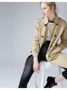 Autumn Arrival Women's Double-Breasted Turn-Down Collar Long Trench Coat Jacket 2017, Long Trench Coat, Jacket Style, Business Fashion, White Tops, Black Pants, Double Breasted, Autumn Fashion, Skinny Jeans
