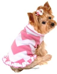 Chevron Pullover Fleece with Ruffle in Pink White #dogPulloverFleece #dog #poshpuppyboutique