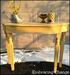 Yellow Sofa Table Makeover - General Finishes Milk Paint in Somerset Gold