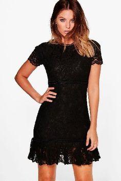 #boohoo Lori Lace Detail Frill Bodycon Dress - black #Boutique Lori Lace Detail Frill Bodycon Dress - black
