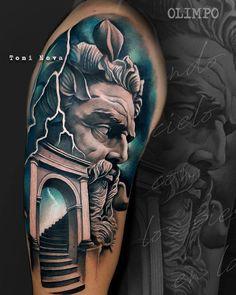 Tattoo artist Toni Nova color and black grey portrait tattoo realism surrealistic tattoo Barcelona Spain Tattoo Zeus, Zues Tattoo, Poseidon Tattoo, Grace Tattoos, God Tattoos, Tattoos For Guys, Hannya Samurai, Greek God Tattoo, Shiva Tattoo Design