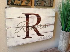 distressed initial R diy jointed wooden family name sign - Peveia, sign crafts, painted