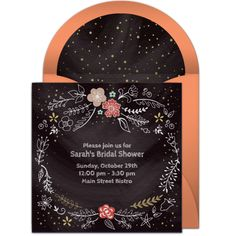 Customizable, free Chalkboard Bridal Shower online invitations. Easy to personalize and send for a bridal shower. #punchbowl
