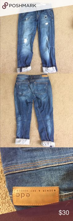 EDC European-Style Denim Jeans Jeans with faux tears and well-placed stitchings. Like brand new, been worn twice. Size W30 L34 edc Jeans Relaxed