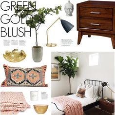 Green Gold & Blush by emmy on Polyvore featuring polyvore interior interiors interior design home home decor interior decorating Furniture of America Wedgwood H&M