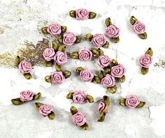 Items similar to Petite Satin Fabric Roses - Dusty Pink and Green - 10 pcs - Jewellery, Costume & Craft Supplies by DeeDeeSupplies on Etsy Fabric Roses, Satin Fabric, Bead Store, General Crafts, Dusty Pink, Pink And Green, Jewelry Stores, Jewelry Crafts, Mall
