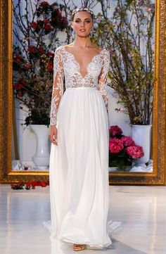V-Neck Sheath Wedding Dress  with Natural Waist in Lace. Bridal Gown Style Number:33477100
