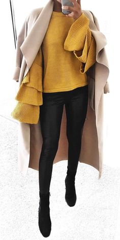 #winter #outfits yellow long-sleeved shirt and black leggings