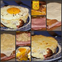 Croque Madame or Monsieur - A hot ham and cheese sandwich, covered with a creamy Béchamel sauce, and finished with a fried egg. Simply omit the egg for a Monsieur.