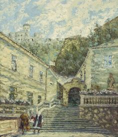 Ján Šandora was a painter who worked in Trenčianske Teplice for a long time. He painted with post-impresionism method using small juxtaposed pasta oil pain. Art Google, Poster, Castle, Stairs, Gallery, Artwork, Artist, Painting, Culture