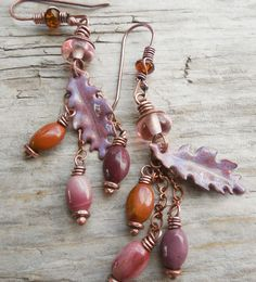 Mauve Rose and Cinnamon Oak Leaf Enamel Earrings by lunedesigns, $37.00