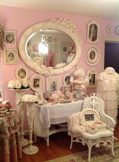I am so in love with the old shabby chic mirror surrounded by framed pictures of the past. The old dress form and the shabby chic touches added to it are awesome too. Take a look around as I feel sure you will find some items you will love too. Shabby Chic Spiegel, Shabby Chic Mirror, Romantic Shabby Chic, Shabby Chic Pink, Romantic Cottage, Shabby Chic Bedrooms, Shabby Chic Cottage, Shabby Chic Homes, Shabby Chic Style