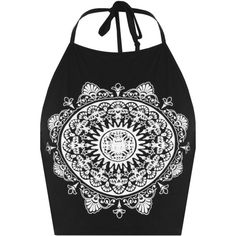 Rikki Mandala Halter Neck Crop Top ($13) ❤ liked on Polyvore featuring tops, black, black tie, black necktie, tie neck halter top, black halter top and neck ties
