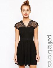 New Look Petite Lace Insert Skater Dress