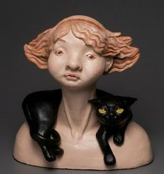 Crazy Cat Lady by Zhanna Martin Crazy Cat Lady, Crazy Cats, Haunted Dolls, Man And Dog, Contemporary Artwork, Ceramic Artists, Sculpture Art, Clay Sculptures, Clay Art