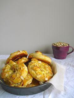 White chocolate apricot almond brioche pretzels